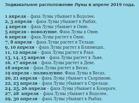 Лунный календарь посадок на апрель 2019